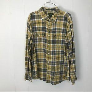 Eddie Bauer classic fit men yellow flannel shirt L